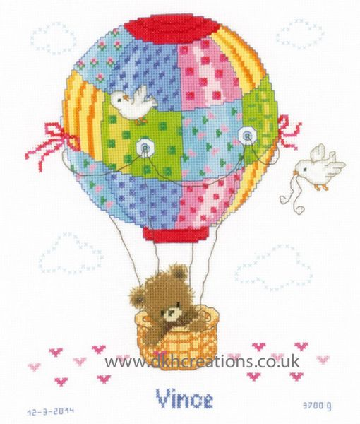 Flying In Hot Air Balloon Birth Sampler Cross Stitch Kit